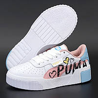 Женские демисезонные кроссовки Puma Cali White Pink Blue 36-40рр. Живое фото. Реплика ААА+