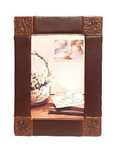 """Рамка для фото горизонтальної та вертикальної орієнтації з натуральної шкіри """"Арабески"""""""