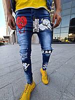 """Светло-синие мужские осенние джинсовые штаны MN Jeans """"Мультяшки"""" рваные"""