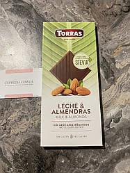 Молочный шоколад Torras Stevia  с миндалем без сахара без глютена 125 грм