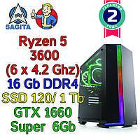 Игровой компьютер / ПК ( AMD Ryzen 5 3600  (6 x 4.2GHz) \ B450 \ 16Gb DDR4  \ GTX 1660 super 6Gb \ 600W)