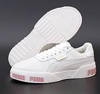 Женские демисезонные кроссовки Puma Cali White Pink Logo 36-40рр. Живое фото. Реплика ААА+