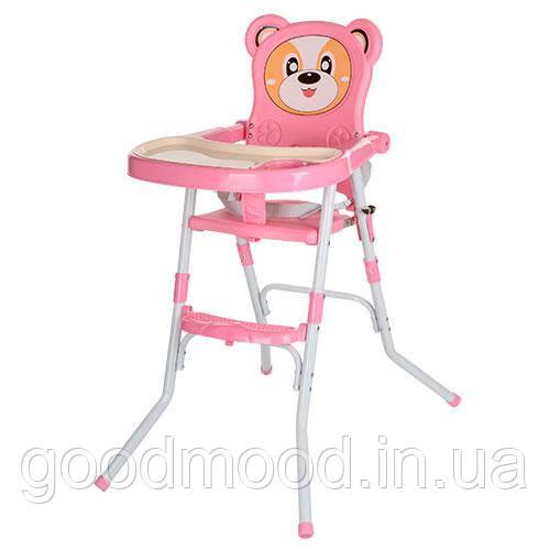 Стільчик 113-8 для годування,2в1(стільчик),склад.,2-х точ.рем.безпо,регул.столик,рожевий