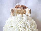 Декоративный шар из роз для интерьера или свадьбы айвори Ivory шебби шик, фото 3