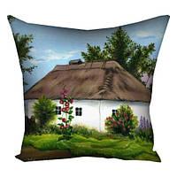 Подушка с принтом Домик в деревне