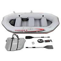 ✅ Intex 68376 (328х145х48 см) Надувная лодка Mariner 4 Set | Надувний човен для рибалки Інтекс