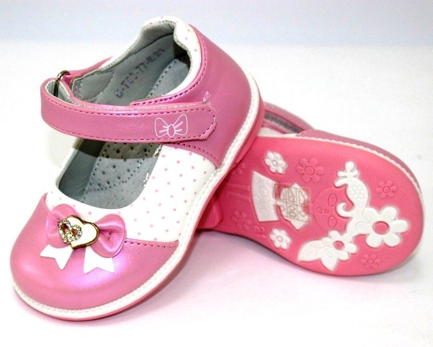 Розовые туфли на липучках для девочек
