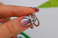 Серьги кольца с камнями 1,8 см