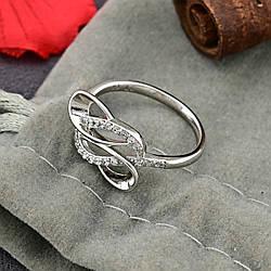 Кольцо Xuping 14807 размер 16 ширина 9 мм вес 1.6 г белые фианиты позолота Белое Золото