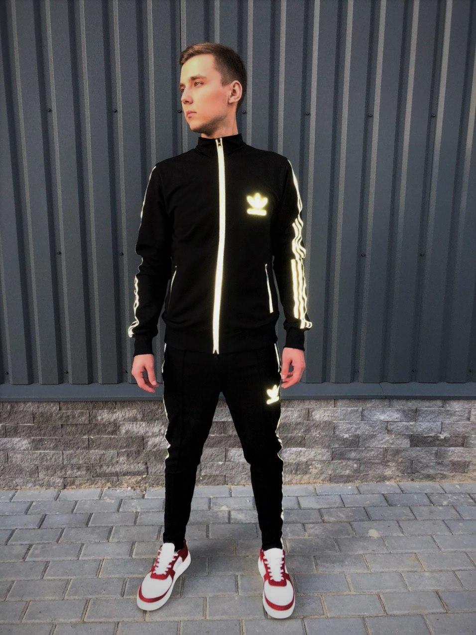 Adidas cпортивный мужской костюм черный с рефлективом весна-осеньМужской демисезонный спортивный костюм!