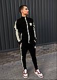 Adidas cпортивный мужской костюм черный с рефлективом весна-осеньМужской демисезонный спортивный костюм!, фото 2