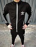 Adidas cпортивный мужской костюм черный с рефлективом весна-осеньМужской демисезонный спортивный костюм!, фото 3