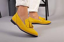 Женские замшевые туфли с кисточкой, желтый замш