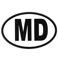 "Наклейка знак ""MD"" ч/б (90х140мм) (ОД)"