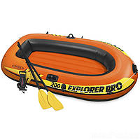 ✅ Intex 58357 (196х102х33 см) + Весла, насос. Надувная лодка Explorer 200 Pro | Надувний човен Інтекс