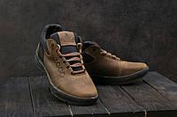 Мужские кроссовки кожаные зимние оливковые CrosSAV 38
