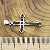 Серебряный крестик размер 31х16 мм вставка черные фианиты вес 1.98 г, фото 2