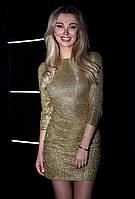 """Платье вечернее золотое с блестками с идеальной посадкой, длинна мини """"Gold"""""""