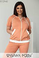 Спортивный костюм с кофтой свободного кроя и штаны с контрастными лампасами с 48 по 58 размер, фото 2