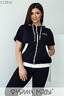 Спортивный костюм с кофтой свободного кроя и штаны с контрастными лампасами с 48 по 58 размер, фото 6