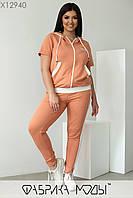Спортивный костюм с кофтой свободного кроя и штаны с контрастными лампасами с 48 по 58 размер, фото 3