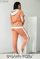 Спортивный костюм с кофтой свободного кроя и штаны с контрастными лампасами с 48 по 58 размер, фото 7