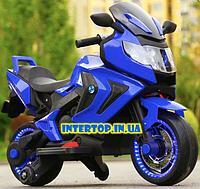 Детский электромотоцикл BMW на аккумуляторе с с резиновыми надувными колесами M 3681 синий для детей 3-8 лет