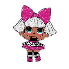 """Наклейка на кулю 18"""" Лялька-дівчинка з білим волоссям"""