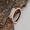 Кольцо Xuping 14813 размер 18 ширина 5 мм вес 2.3 г белые фианиты позолота РО, фото 3