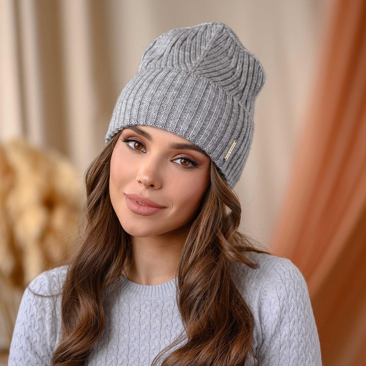 """Вязанная шапка """"Айлин"""" цвет-серый"""