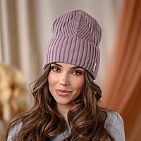 """Вязанная шапка """"Айлин"""" цвет-пыльная роза"""