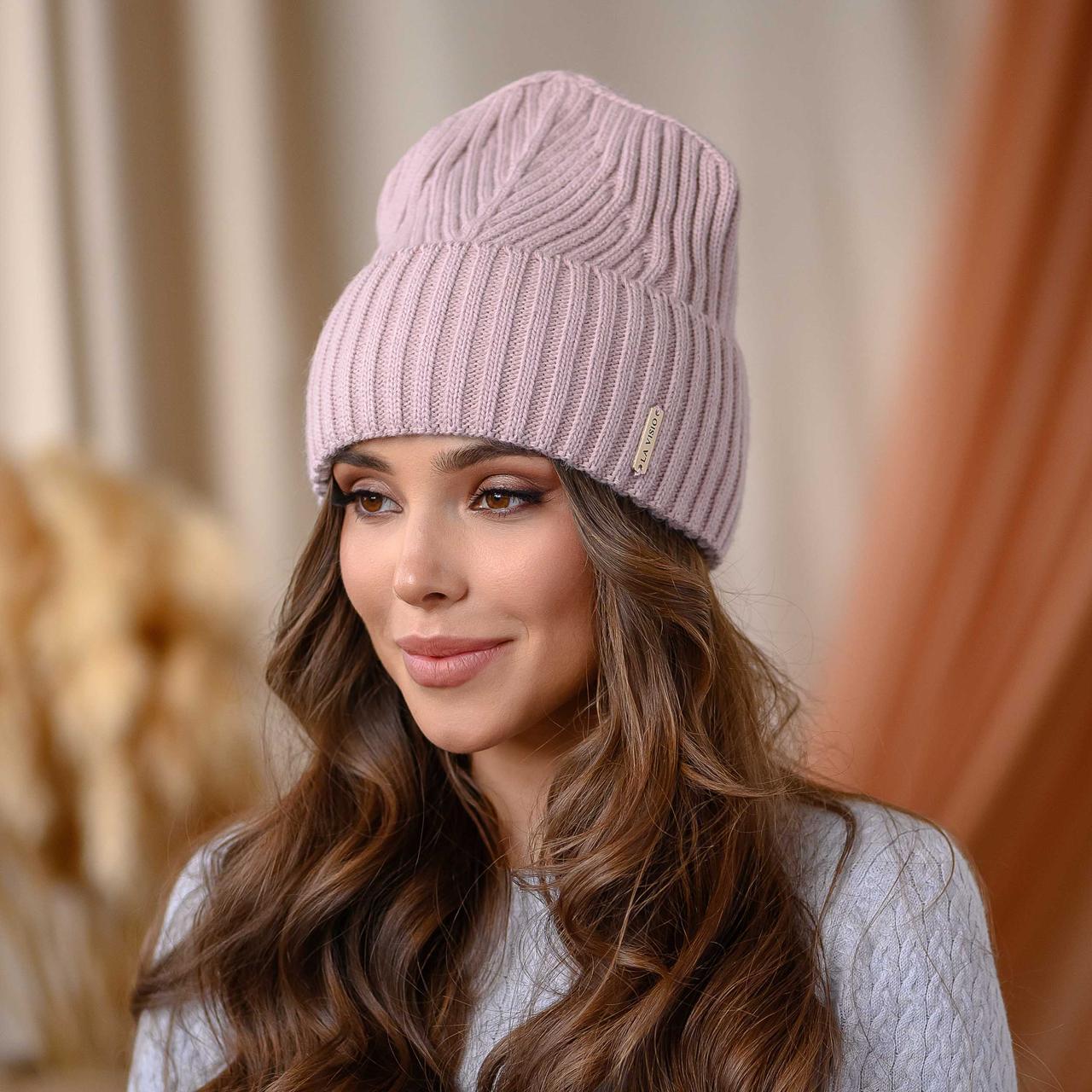 """В'язана шапка """"Айлін"""" колір-пудра"""