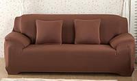 Чехол на трехместный диван без оборки универсальный Коричневый HomyTex
