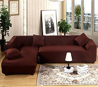 Чехол на угловой диван универсальный без оборки цельный бифлекс Коричневый Кофейный HomyTex