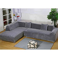 Чехол на угловой диван Серый универсальный цельный замша/микрофибра HomyTex