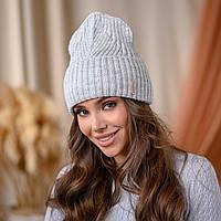 """Вязанная шапка """"Айлин"""" цвет-светло-серый"""