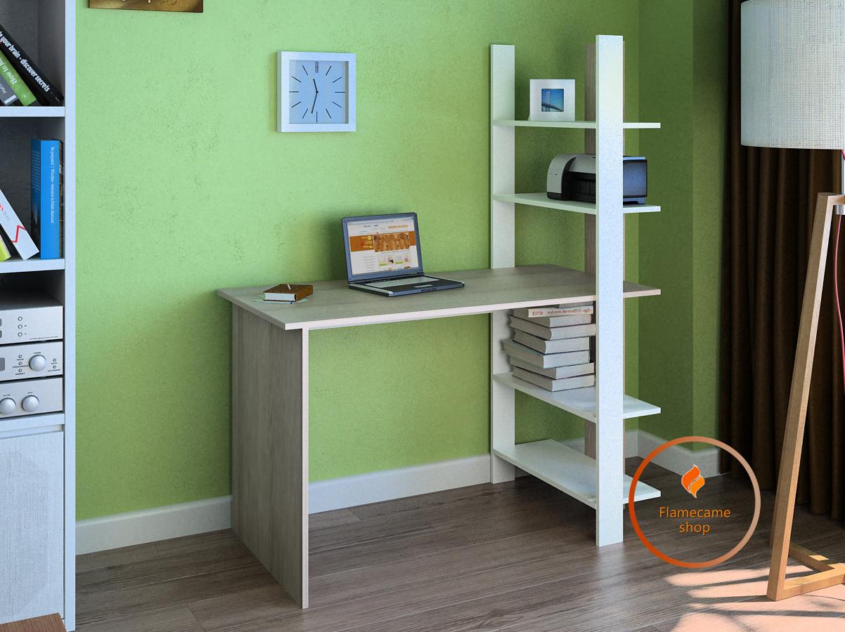 Комп'ютерний стіл з боковим стелажем з ДСП. Код: LG-15-3192