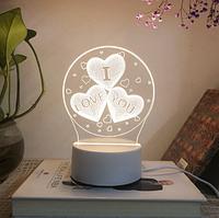 3D світильник I love you (3 D нічник, 3 D лампа), фото 1