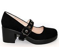 Замшевые черные туфли на широком каблуке, фото 1