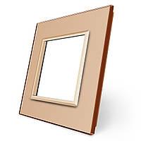 Рамка для Терморегулятор сенсорный DEVI Devireg Touch золото стекло (BB-C3-SR-13), фото 1