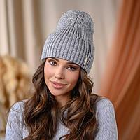 """В'язана шапка """"Віва"""" колір - сірий"""