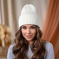 """В'язана шапка """"Віва"""" колір-білий"""