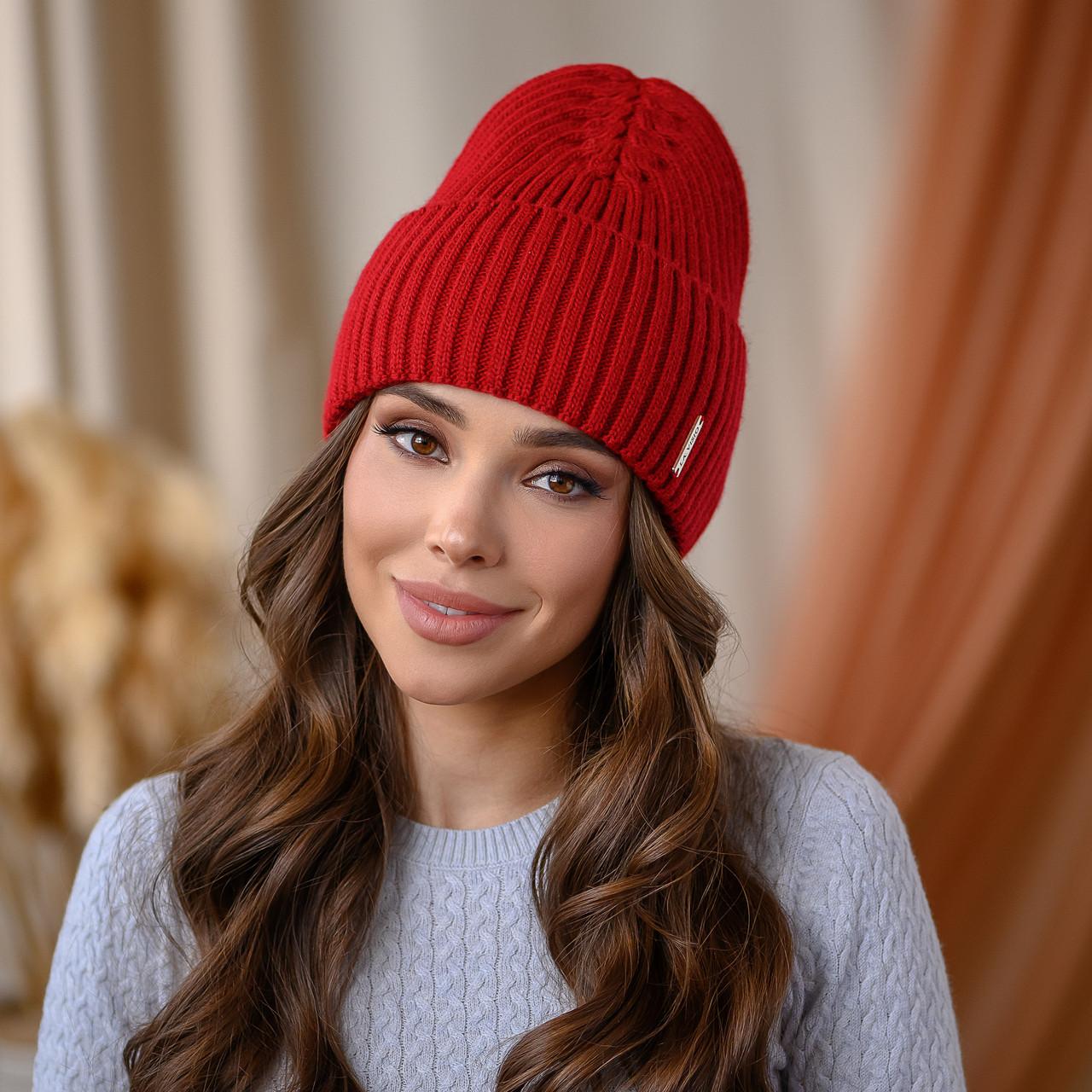 """В'язана шапка """"Віва"""" колір - червоний"""