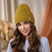 """В'язана шапка """"Віва"""" колір - лайм"""