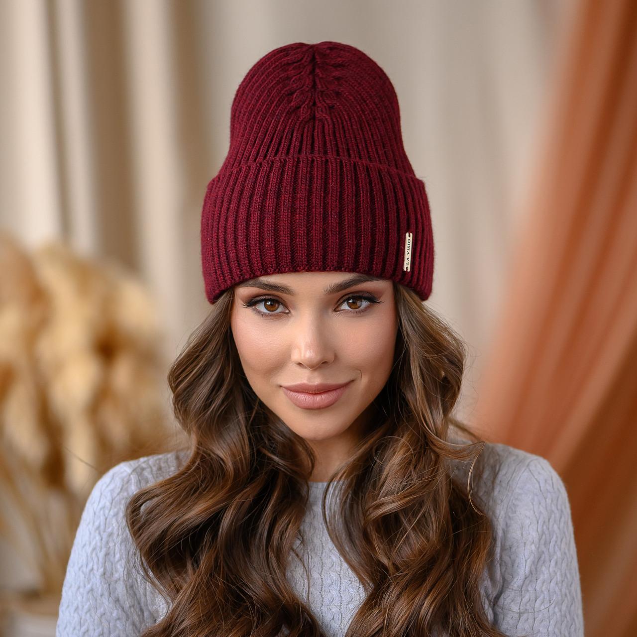 "В'язана шапка ""Віва"" колір - темна вишня"