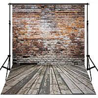 Фотофон, фон для фото виниловый текстурный Deep Vinyl Texture Cloth 150×210 см Кирпичная стена + Дерево 1