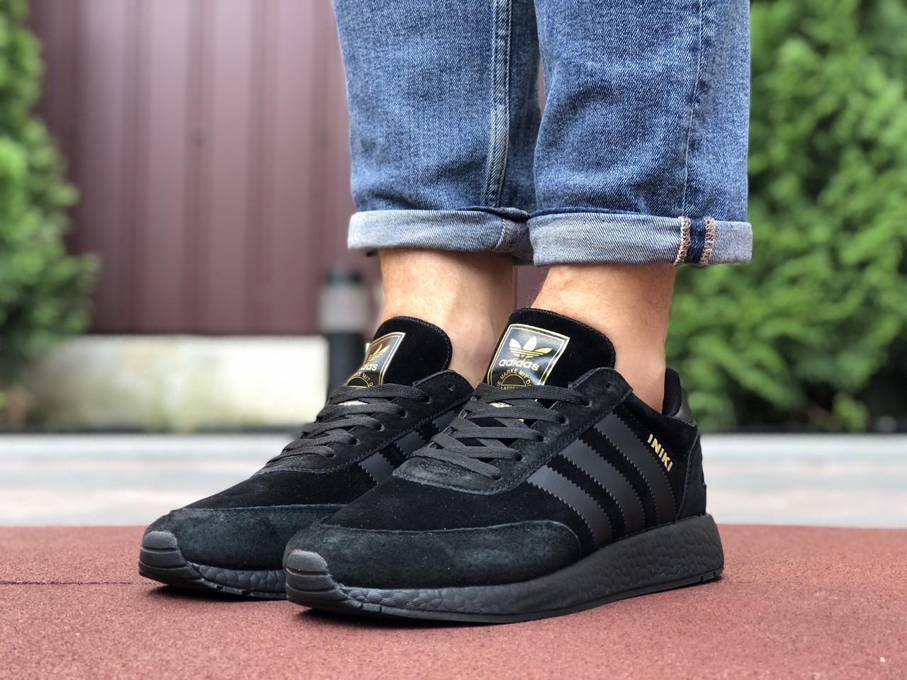 Мужские кроссовки Adidas Iniki, черные / кросівки адідас Иники (Топ реплика ААА+)