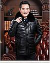 Мужская эко-кожа куртка-пуховик классика с мехом 3 цвета, фото 3
