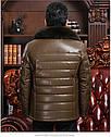 Мужская эко-кожа куртка-пуховик классика с мехом 3 цвета, фото 8