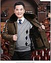 Мужская эко-кожа куртка-пуховик классика с мехом 3 цвета, фото 9